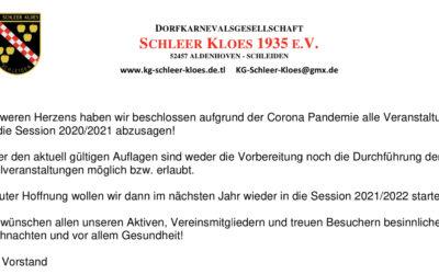 Bekanntmachung der KG Schleer Kloes zur kommenden Session